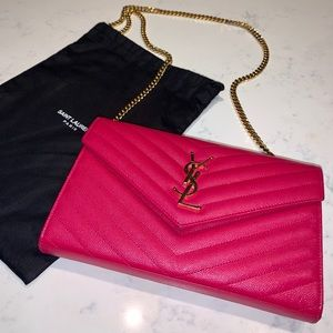 YSL Wallet on Chain (hot pink)